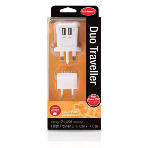 Hahnel Duo Traveller USB Charger Travel Plug Multi Charge iPad/iPhone/Samsung