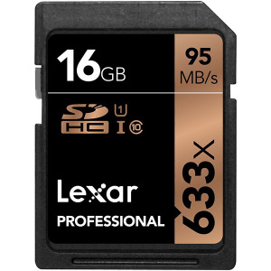 Lexar 16GB Professional 633x UHS-I SDHC Memory Card