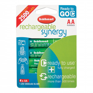 Hahnel Rechargeable Synergy AA 2500mAh AA Batteries CAPACITY 2500mah, 1.25V, 3.1Wh
