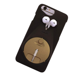 Jeddis Cover Case with Headphone Holder for Apple iPhone 6/6S - Black/Gold