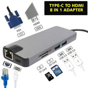 TYPE-C to HDMI 8 in 1 Hub Multifunctional Dock Station With RJ45 Ethernet Adapter