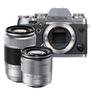 Fujifilm X-T1 Mirrorless Digital Camera with 16-50mm and 50-230mm Lens (Graphite Silver Edition)